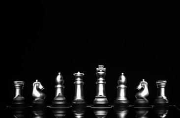 View of chess board game represents smart business strategy