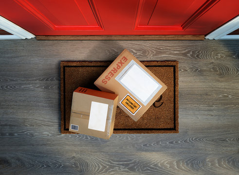 Express delivery box  outside front door. Overhead view. Add your own copy and label