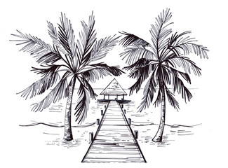 Sketch of a tropical beach with palm trees and the sea. Hand drawn illistration converted to vector Wall mural
