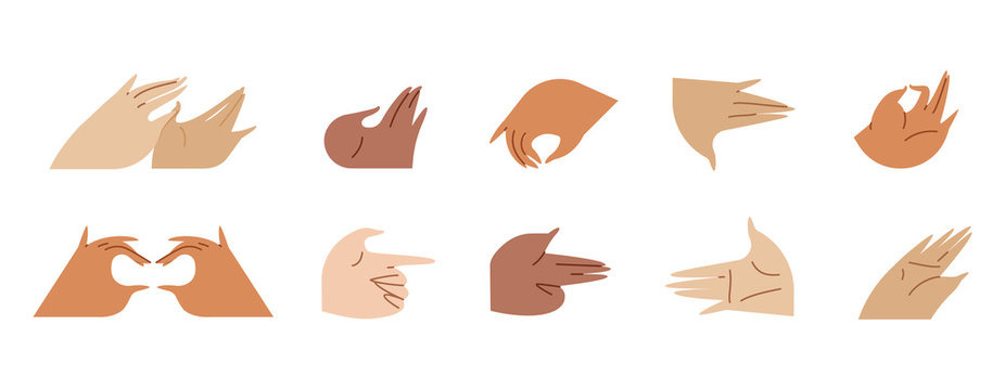 Sticker set Various gestures of hands isolated on a white background. Vector flat illustration in different situations. Use in Web Project and Applications