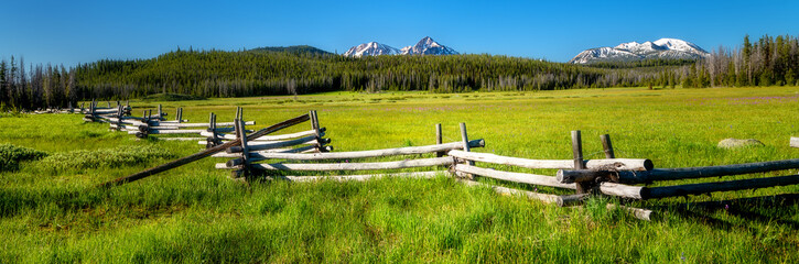 Famous Stanley and Sawtooth log fence in a meadow with mountain range Fotomurales
