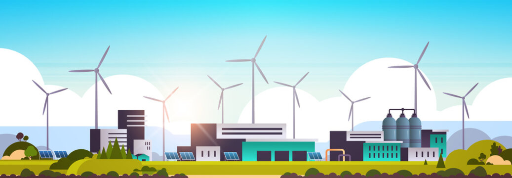 wind turbine solar panel alternative energy source factory building industrial plant power station clean nature ecology environment concept flat horizontal