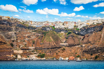 Fotomurales - Santorini, Greece, Aegean Sea. Landscape with town and port of Fira.