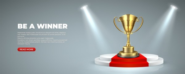 Business or sport award on Illuminated podium. Cup prize trophy on round stages with red carpet winner for victory. Vector illustration lighting scene on gray background