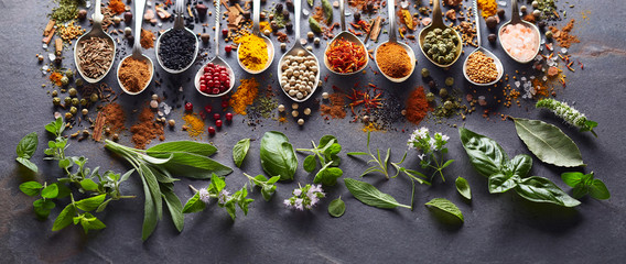 Spices and herbs in closeup on black background Fototapete