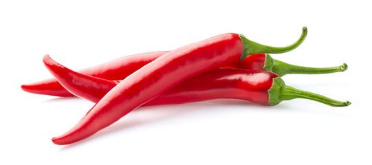 Fototapeta Red hot peppers on white obraz