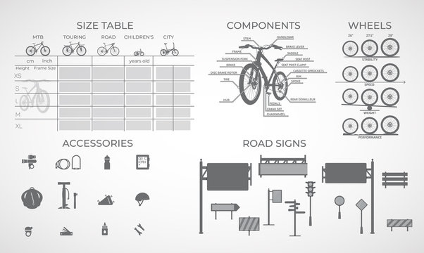 Bicycles of various types for a specific size and accessories.