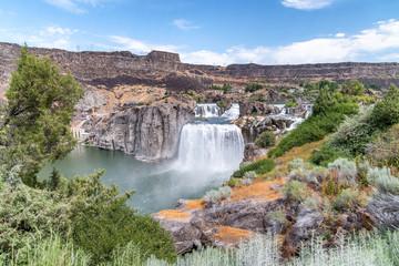 Powerful Shoshone Falls on a cloudy day, Idaho