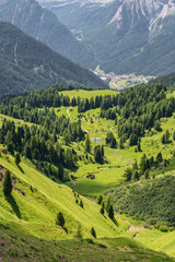 Fototapete - Beautiful landscape with mountain hill in Alps