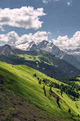 Fototapete - Idyllic Alps with mountain hill under blue sky