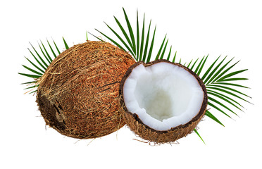 Wall Mural - coconuts isolated on the white background