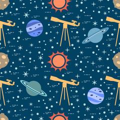 Seamless pattern. Telescope, sun, planets, stars.