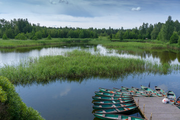 Kemeru. Latvia. Boats in lake.
