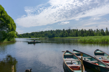 Boats in a lake. Kemeru Latvia.