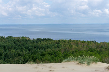 Courland Isthmus. Dunes forest and sea. Lithuania