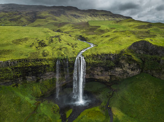 Aerial view of beautiful Seljalandsfoss waterfall in Iceland during the spring.