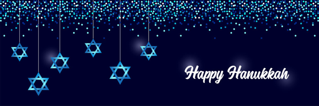 Luxury Festive Happy Hanukkah horizontal background with sparkles and glittering effect and lettering