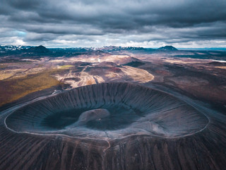 Hverfjall or Hverfell - extinct volcano located in the north of Iceland to the east of Lake Mývatn. Beuatiful crater located in northern Iceland.