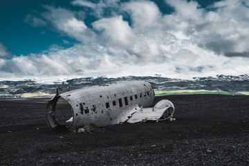 Famous DC-3 Dakota plane wreckage in Iceland. Favourite tourist spot in suothern Iceland.