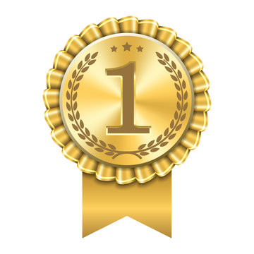 Award ribbon gold icon number first. Design winner golden medal 1 prize. Symbol best trophy, 1st success champion, one sport competition honor, achievement leadership, victory. Vector illustration