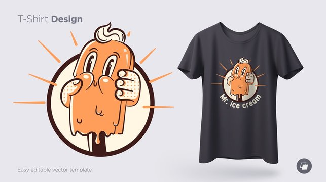 Vintage ice cream. Prints on T-shirts, sweatshirts, cases for mobile phones, souvenirs. Isolated vector illustration on white background.