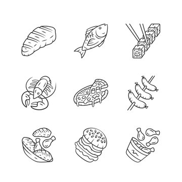 Restaurant menu linear icons set. Fast food, italian cuisine. Pizza, lobster, steak, burger, sushi, chicken legs. Thin line contour symbols. Isolated vector outline illustrations. Editable stroke
