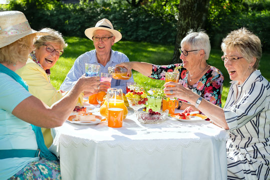 Happy elderly people sitting around the table picnicking.