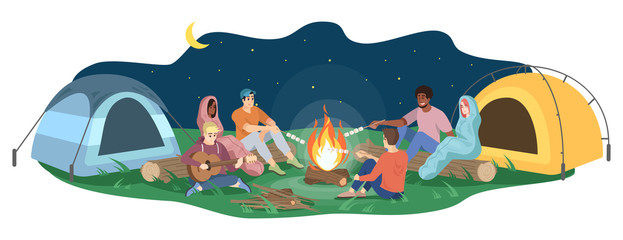Friends sit by campfire flat vector illustration. Young tourists, campers cartoon characters. Students playing guitar, roast marshmallows. Night camping entertainment isolated on white background