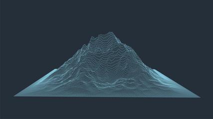 Abstract digital landscape. Wireframe landscape background. 3d futuristic vector illustration.