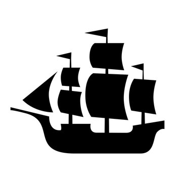 Ancient sailboat, medieval caravel, pirate ship, navigate vessel (vector silhouette).