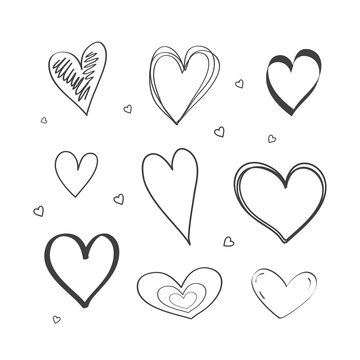 Set of drawings of the heart the doodle style. Hand-drawn illustration. Vector.