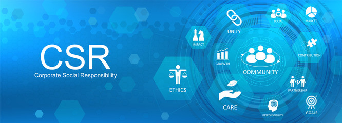 CSR Social Responsibility, template web page banner with icons and  conceptual text.  Idea of responsibility and social life. Abstract background CSR, Vector illustration