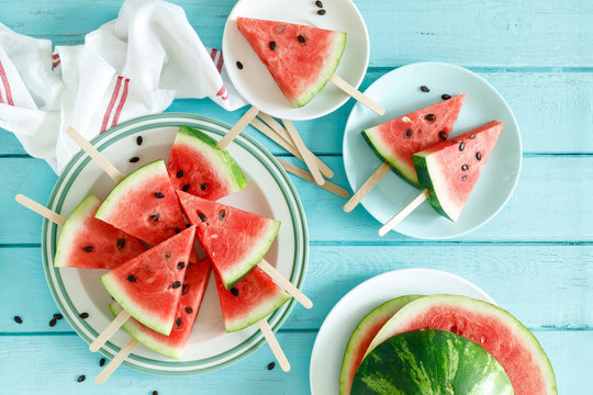 Watermelon slice popsicles