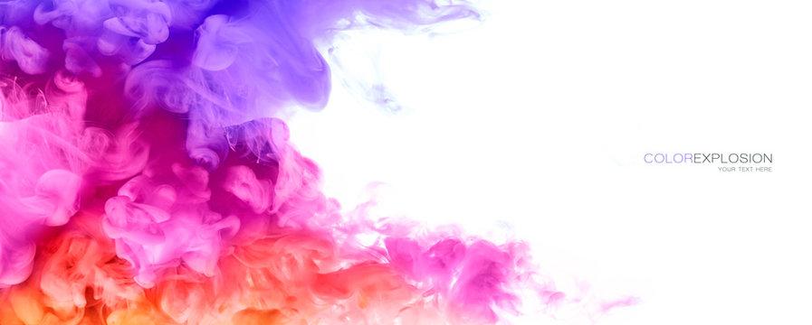 Rainbow of Ink in water. Color Explosion. Paint Texture