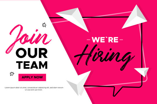 Join Our team banner design. Work poster. Vacancy background. Creative recruitment