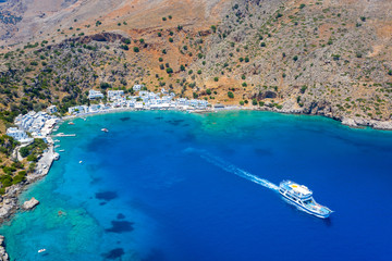 Aerial view of Greek village of Loutro, Chania, Crete, Greece.