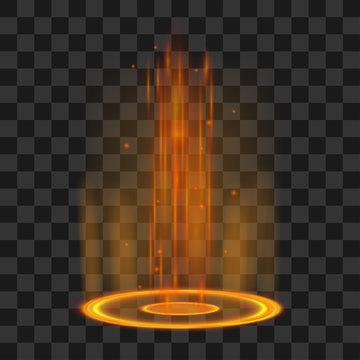 Magic portal. Futuristic orange and violet teleport. Vector fantasy light effect.
