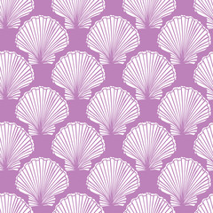 Vector purple and white seashells repeat pattern. Suitable for gift wrap, textile and wallpaper.