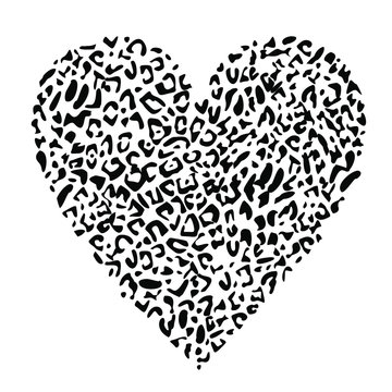 Design for a shirt of a leopard print heart isolated on white