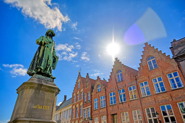 Canvas Prints Bridges The Statue of Jan Van Eyck located in the historic center of Bruges (Brugge), Belgium.