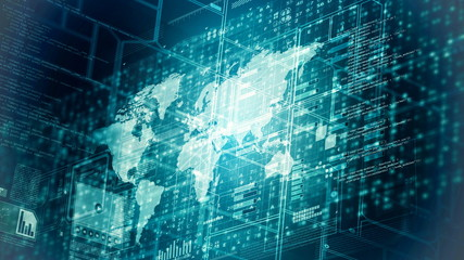 Fototapete - Internet worldwide data computing concept