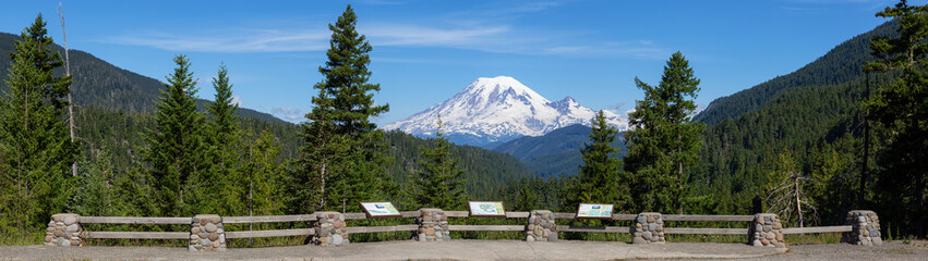 Fototapete - Beautiful American Mountain Landscape view during a sunny summer day. Taken in Paradise, Mt Rainier National Park, Washington, United States of America.