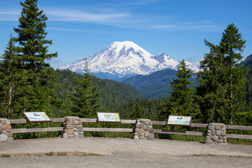Wall Mural - Beautiful American Mountain Landscape view during a sunny summer day. Taken in Paradise, Mt Rainier National Park, Washington, United States of America.