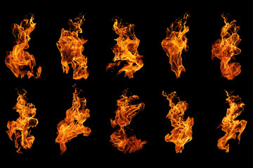 Photo sur Plexiglas Feu, Flamme Fire flames collection isolated on black background, movement of fire flames