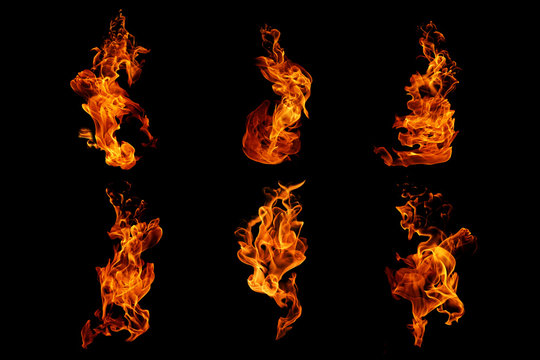 Fire flames collection isolated on black background, movement of fire flames