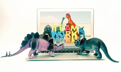 dinosaur toys learning about TEAM WORK