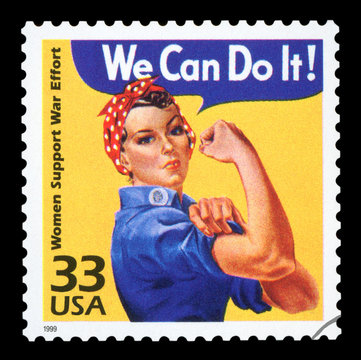 UNITED STATES - CIRCA 1999 : Canceled US Postage stamp showing an image of Rosie The Riveter commemorating the American woman who worked in factories during the World War II, circa 1999.