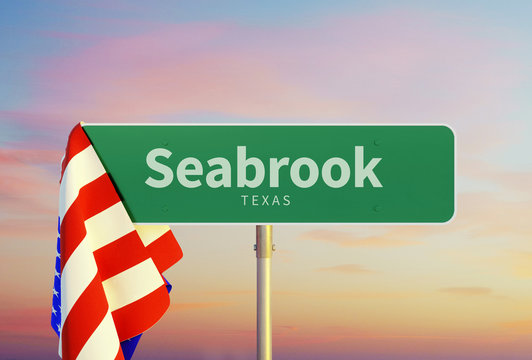 Seabrook – Texas. Road or Town Sign. Flag of the united states. Sunset oder Sunrise Sky. 3d rendering