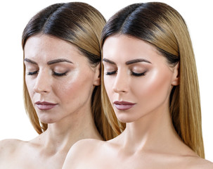 Portrait of woman before and after skin retouch.