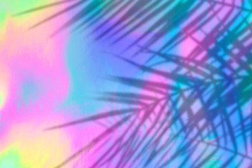 Wall Mural - Trendy colored holographic background with palm leaves shadows in 90s style. Synthwave. Vaporwave style. Retrowave, retro futurism, webpunk